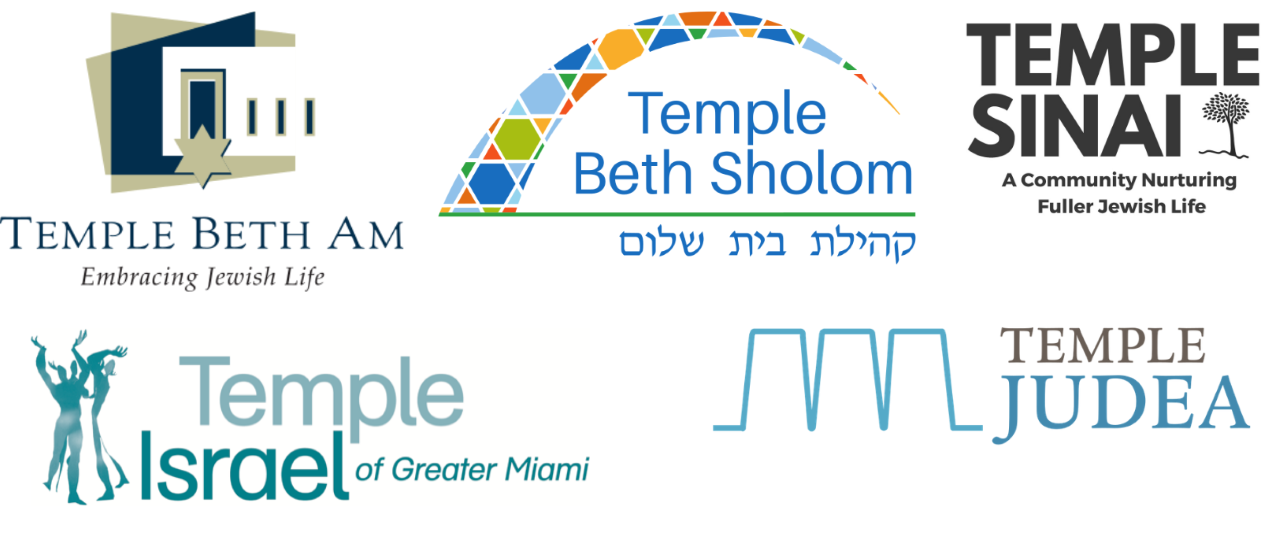 Logos from the 5 Miami area synagogues sponsoring the program.